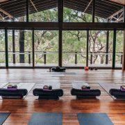 The yoga space at Billabong Retreat, in the Hawkesbury region northwest of Sydney.